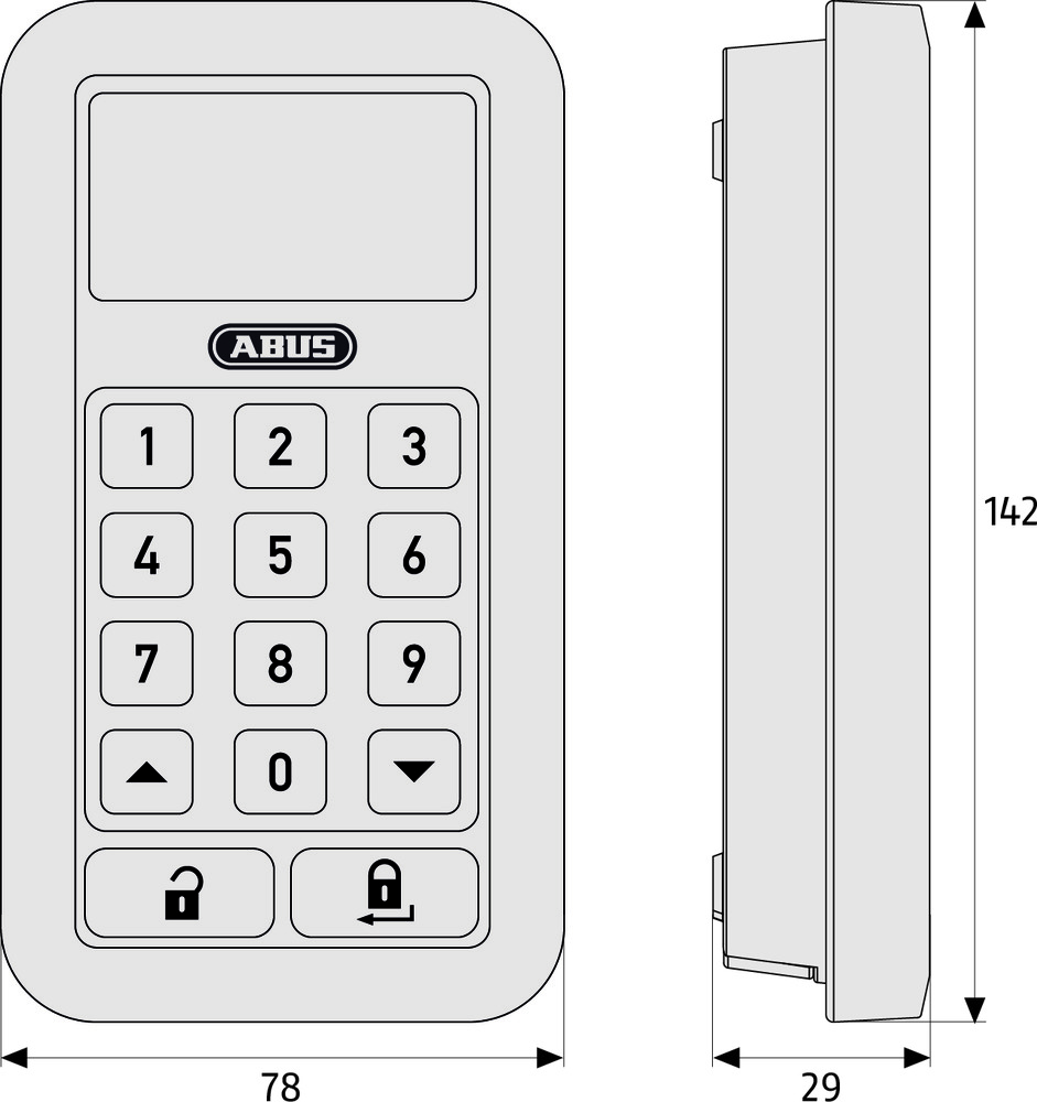 abus clavier sans fil hometec pro cft3000 300202002001. Black Bedroom Furniture Sets. Home Design Ideas